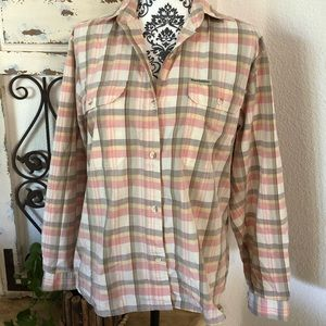 Royal Robins pink/yellow/cream plaid button up